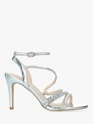 Carvela Liberty Embellished Stiletto Heel Strappy Sandals, Silver