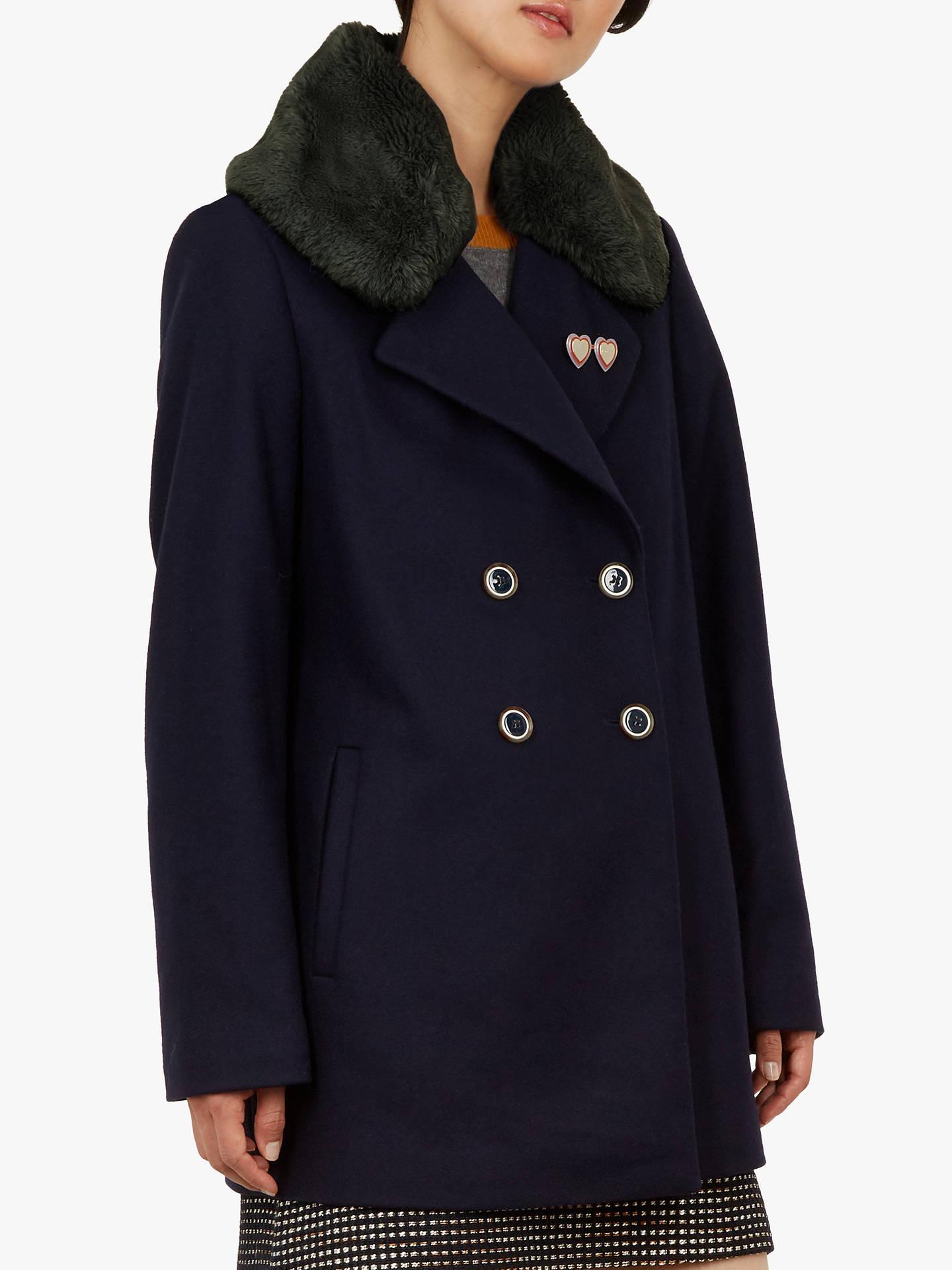 7934ba885 Buy Ted Baker Gaita Faux Fur Collar Pea Coat