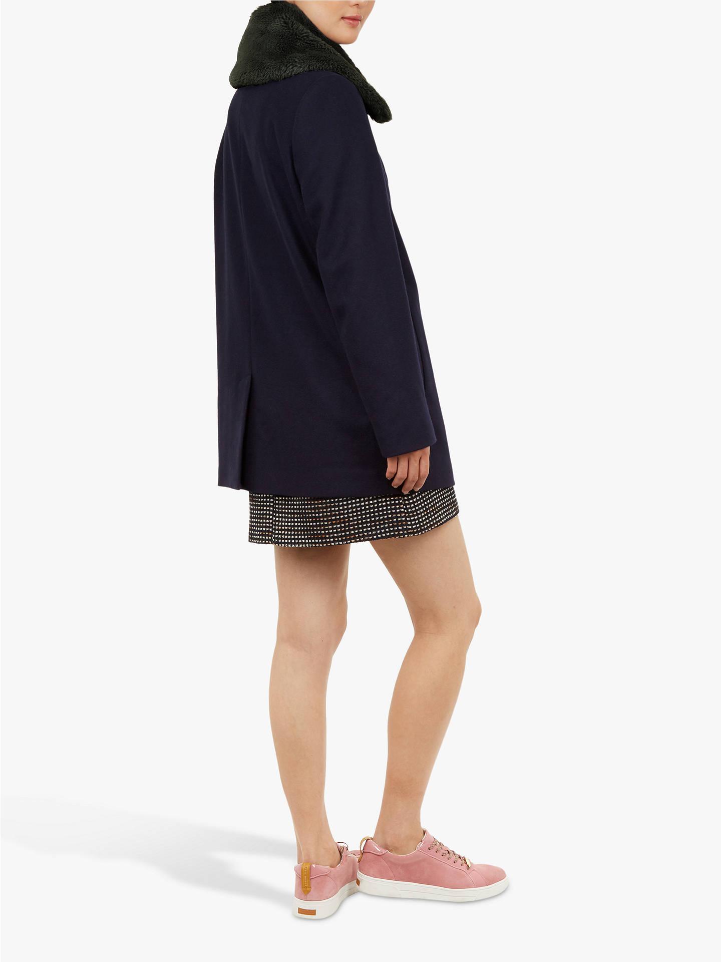 856d2956f ... Buy Ted Baker Gaita Faux Fur Collar Pea Coat
