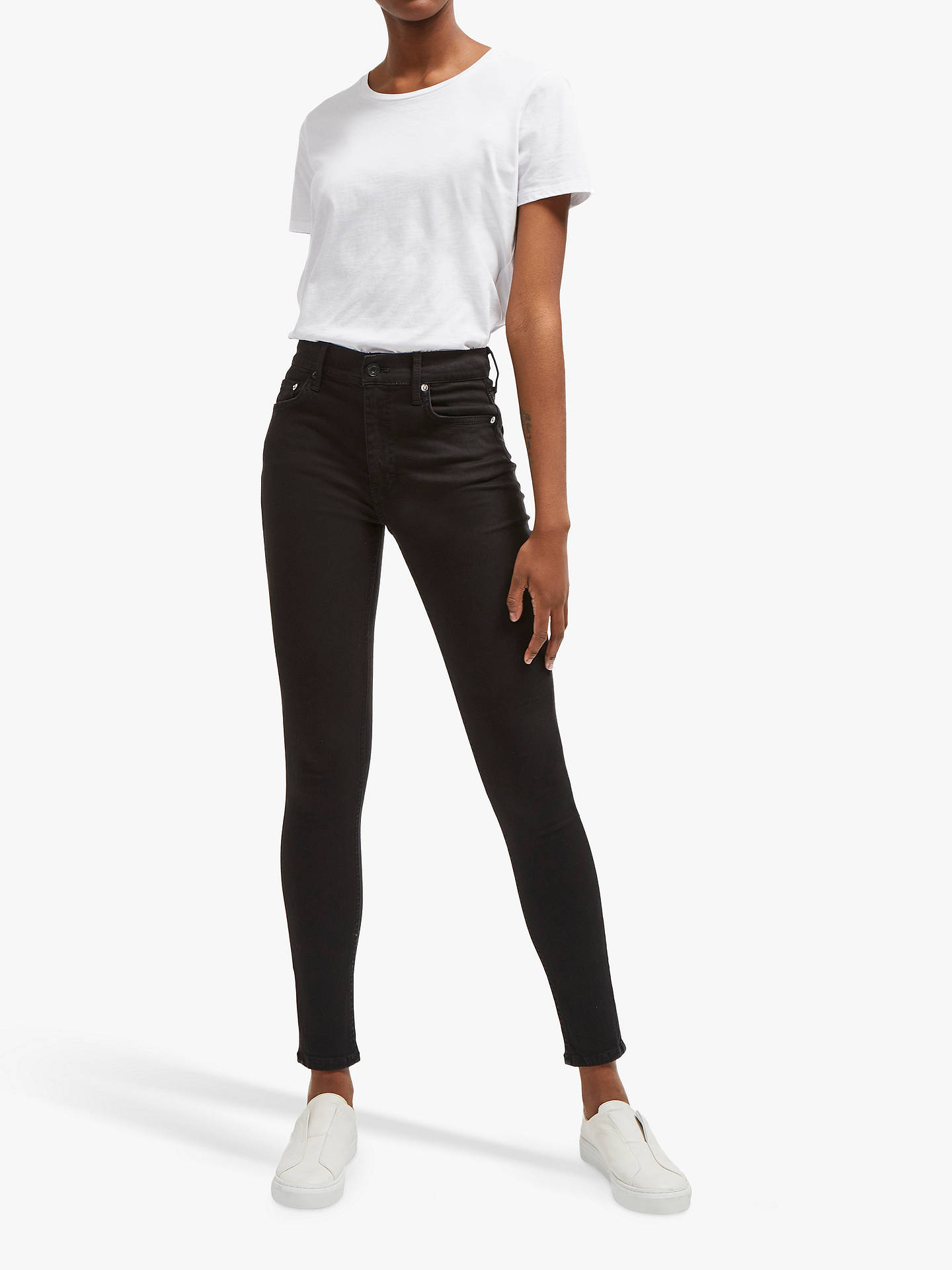 65dec44d2cb Buy French Connection Mid Rise Skinny Rebound Jeans, Black, 14 Online at  johnlewis.