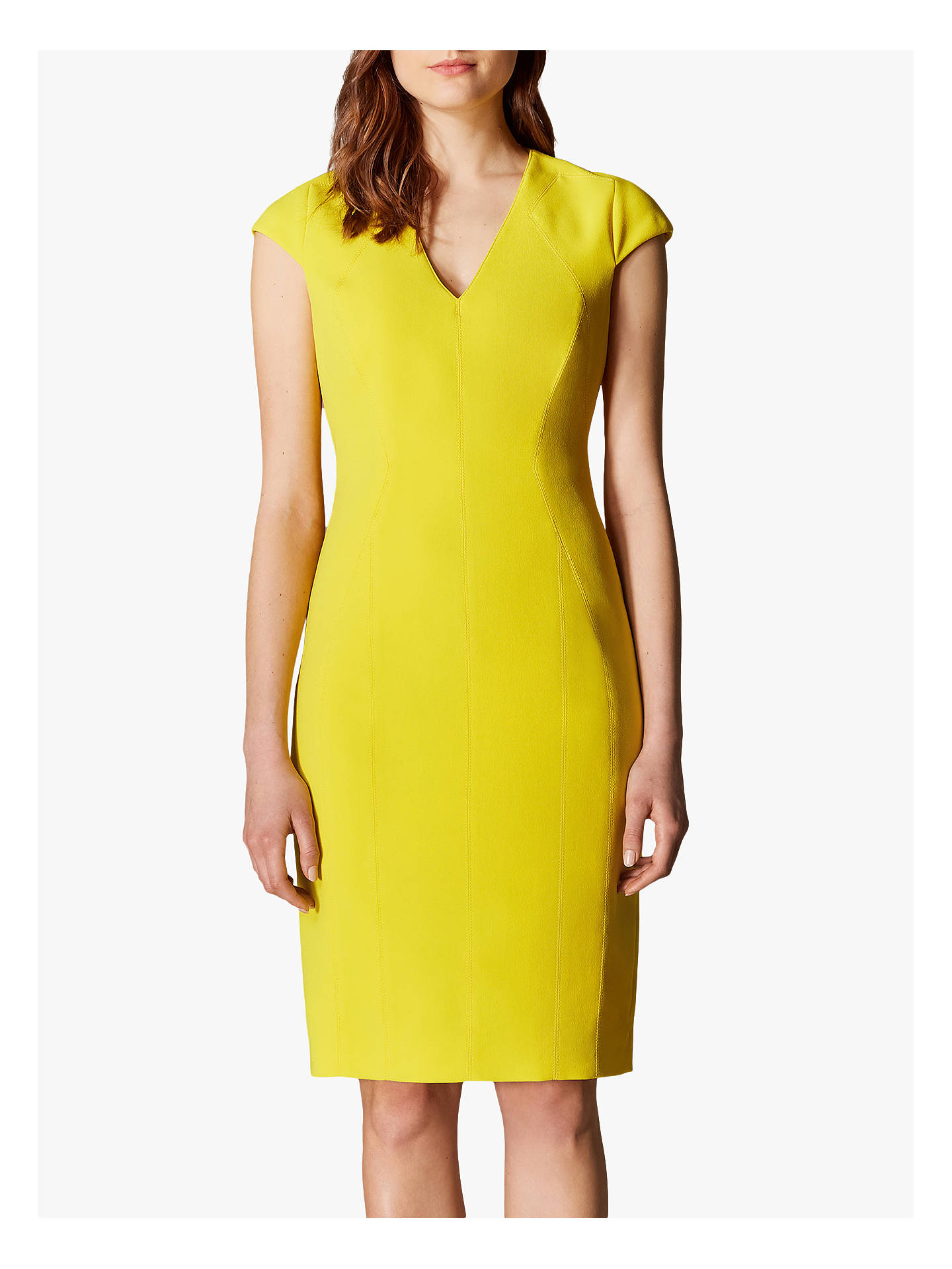 723d1d599e2 Buy Karen Millen V-Neck Pencil Dress, Yellow, 6 Online at johnlewis.