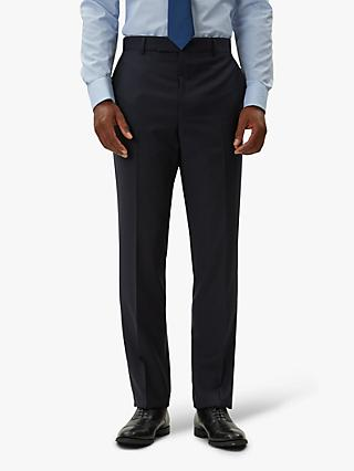 Jaeger Tropical Weave Grid Check Regular Fit Suit Trousers, Navy