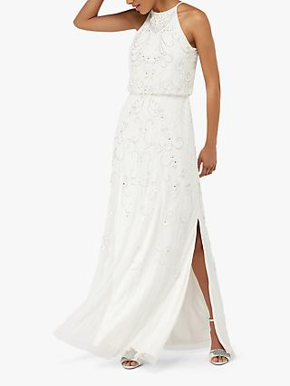Monsoon Augusta Embellished Maxi Bridal Dress, Ivory