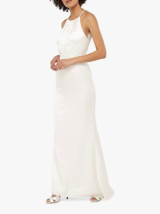 Monsoon Anne Lace Back Satin Bridal Maxi Dress, Ivory