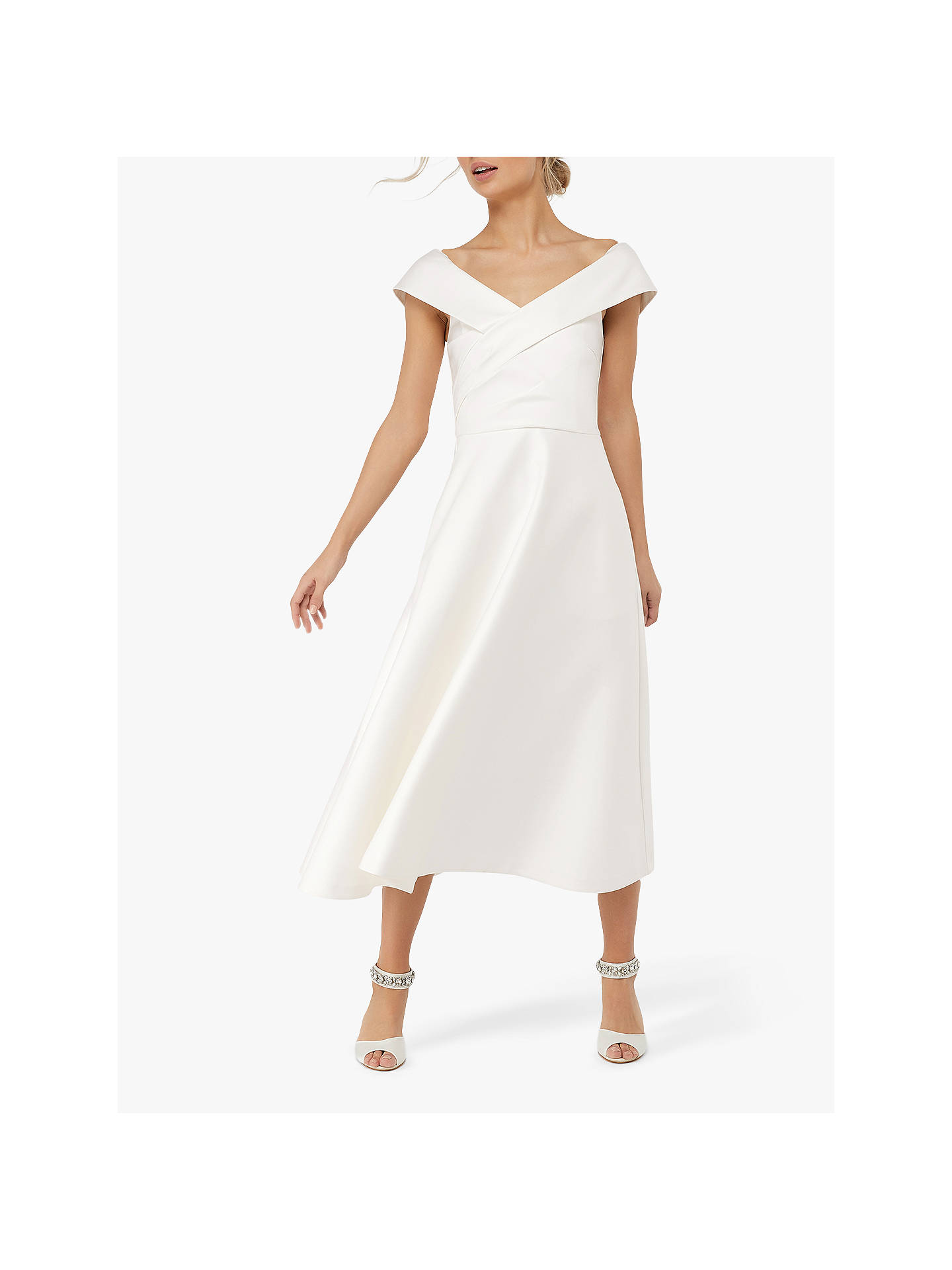 low cost search for newest purchase authentic Monsoon Grace Bardot Midi Wedding Dress, Ivory