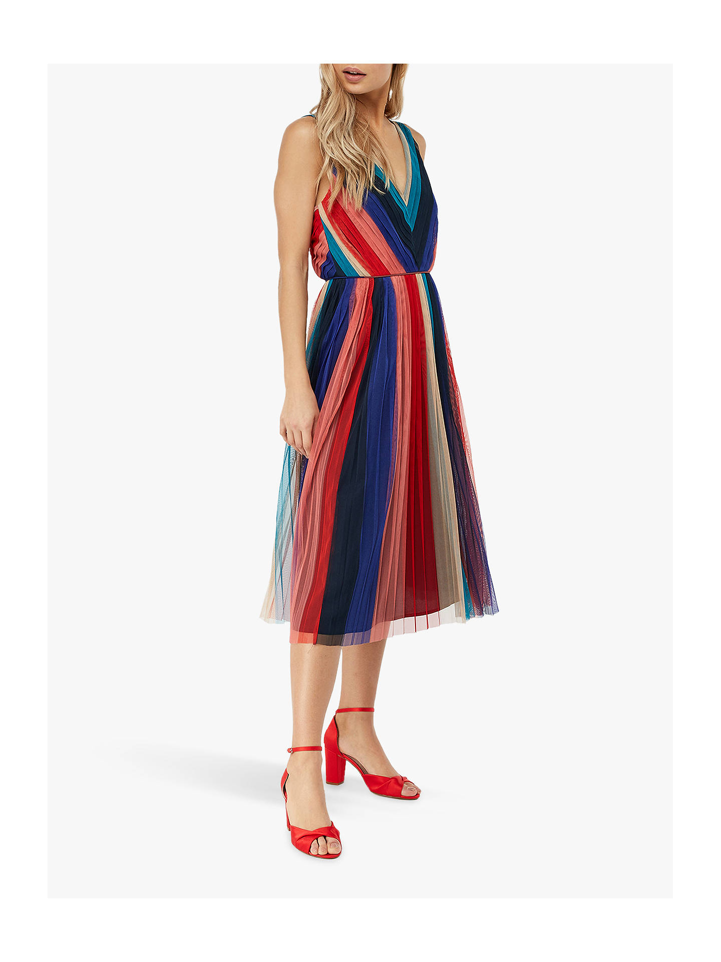 b22195b5081a Buy Monsoon Simone Pleated Midi Dress, Multi, 8 Online at johnlewis.com ...