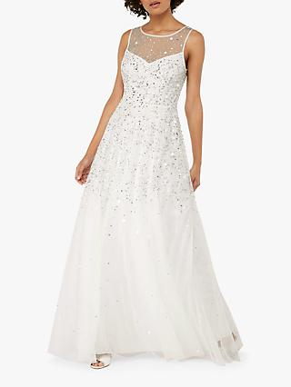 Monsoon Victoria Embellished Bridal Maxi Dress, Ivory
