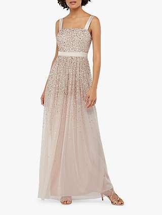 Monsoon Leila Embellished Tulle Maxi Dress, Nude