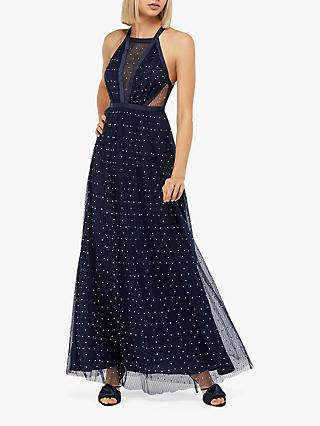 Monsoon Georgia Embellished Dress, Navy