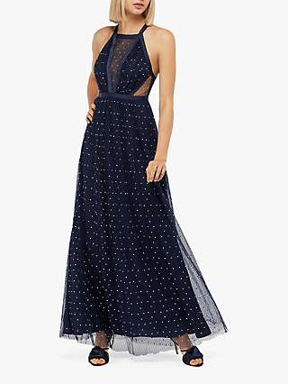 Monsoon Georgia Embellished Dress, Navy