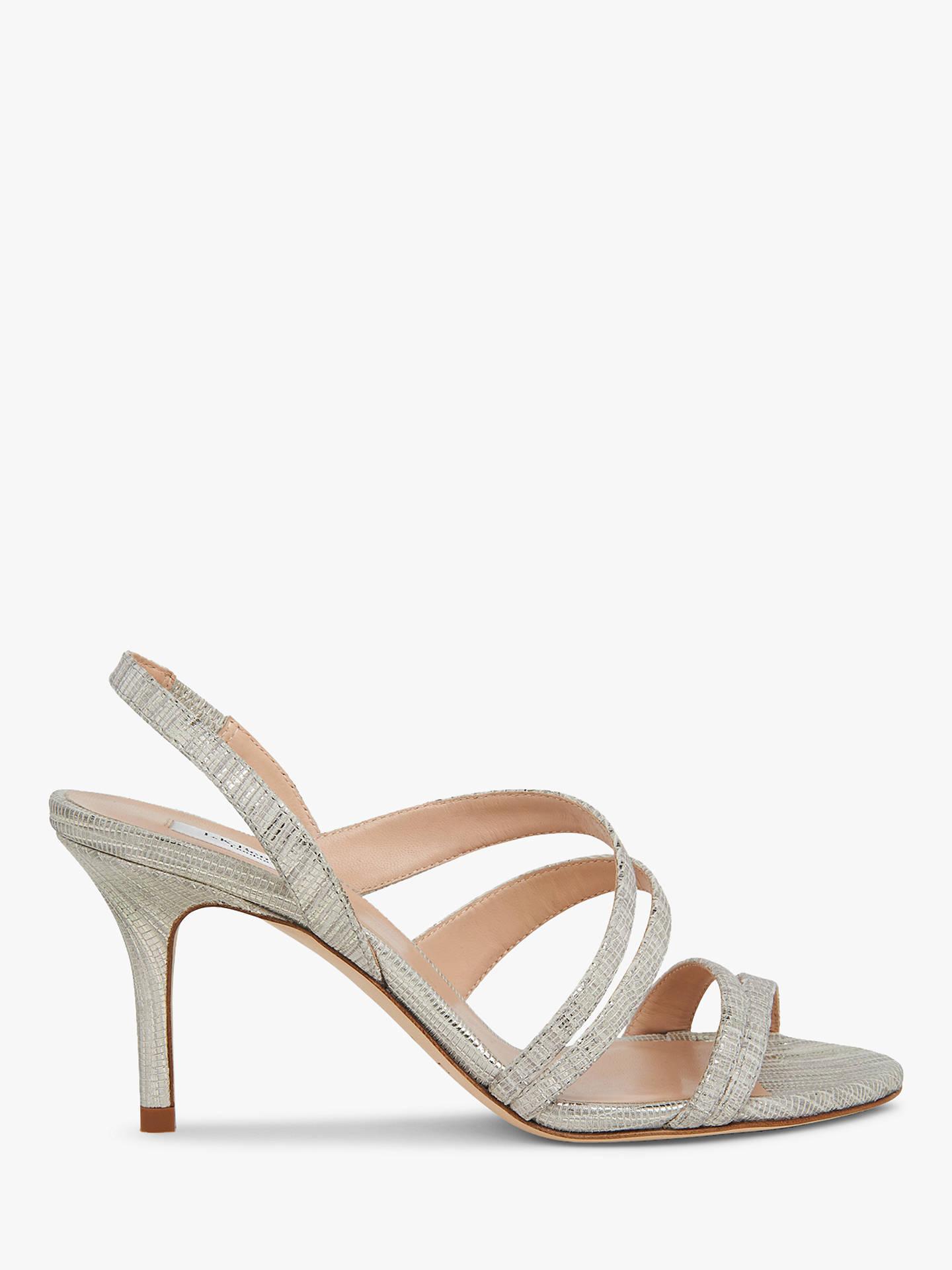 1e624af684613 L.K.Bennett Valeria Strappy Slingback Sandals, Lizard Silver Leather