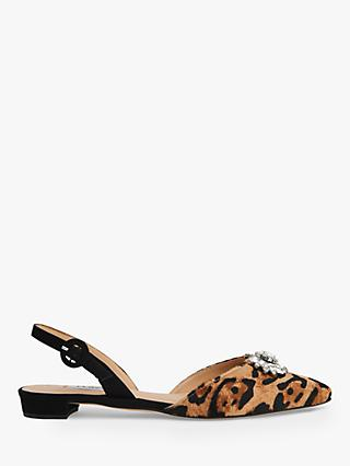 L.K.Bennett Licy Crystal Slingback Pumps, Leopard Print Leather