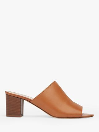 L.K.Bennett Carola Block Heel Mule Sandals, Tan Leather