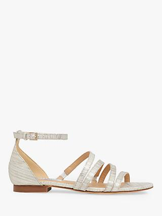 L.K.Bennett Vinnie Flat Sandals, Silver Leather