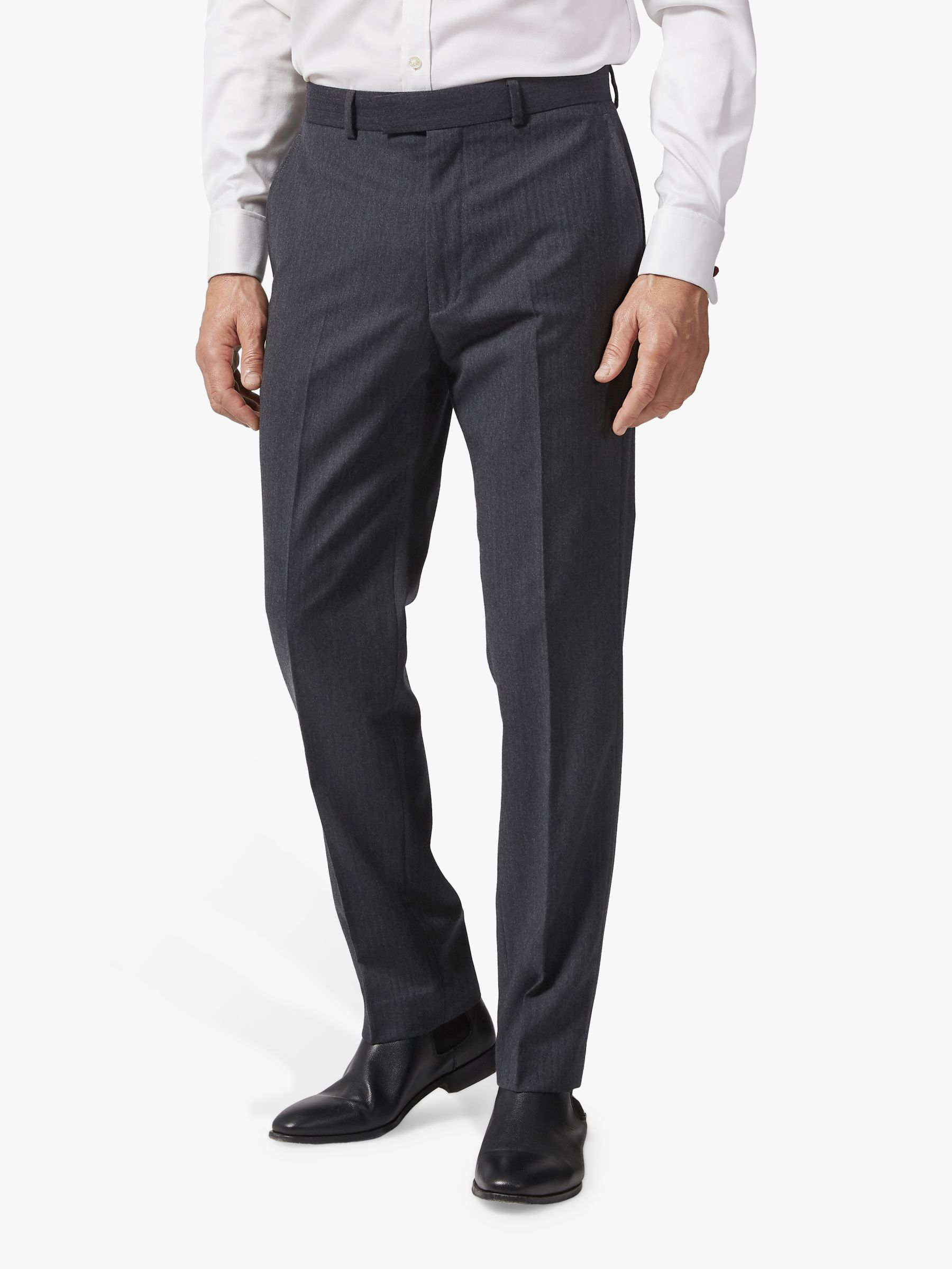 Chester by Chester Barrie Chester by Chester Barrie Herringbone Wool Cashmere Tailored Suit Trousers, Charcoal