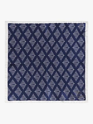 8adfc77eb4e1 Richard James Mayfair Diamond Print Silk Pocket Square, Navy
