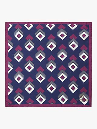 0023dc5021f8 Richard James Mayfair Geo Print Silk Pocket Square, Navy