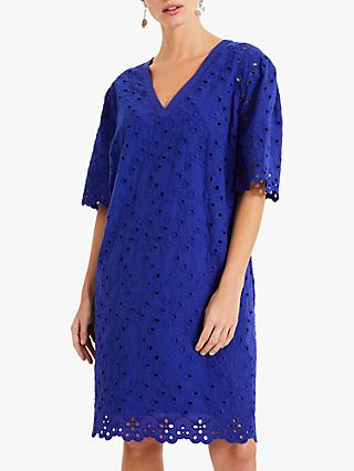 Phase Eight Lilia Cotton Broidery Dress, Cobalt