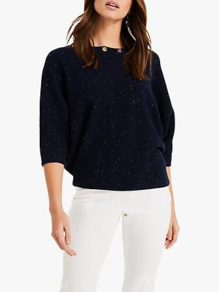 Phase Eight Floriana Fleck Knitted Jumper, Navy