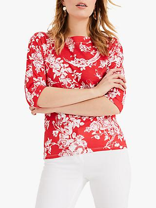 Phase Eight Toile De Jouy Print Top, Red/Ivory