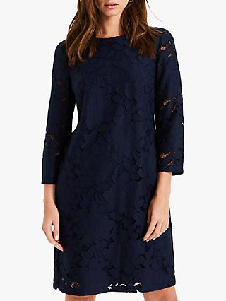 Phase Eight Kacie Lace Shift Dress, Navy