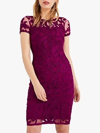 Phase Eight Sheena Lace Evening Dress, Magenta