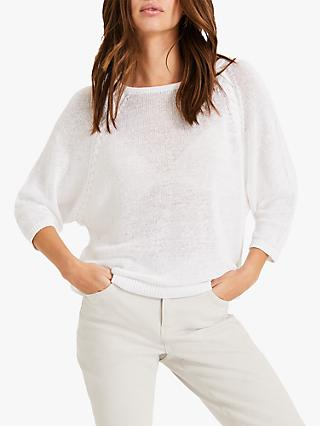 Phase Eight Wendy Linen Knit, White