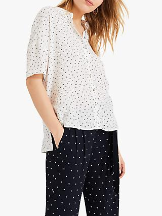 Phase Eight Coleen Star Shirt, Ivory/Navy
