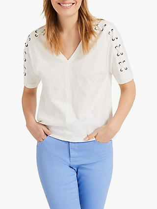 Phase Eight Jocelyn Eyelet V-Neck Top, Ivory