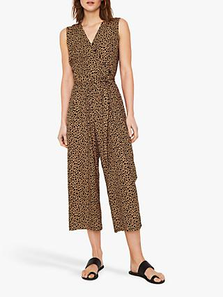 Warehouse Animal Print Tie Waist Jumpsuit, Tan