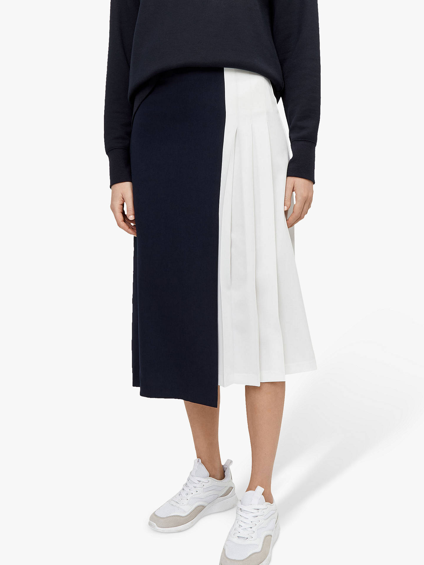 c86c284064 Buy Warehouse Two-Tone Pleated Midi Skirt, Multi, 16 Online at johnlewis.