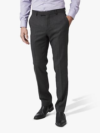 Richard James Mayfair Melange Flannel Wool Tailored Suit Trousers, Charcoal
