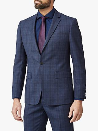 Richard James Mayfair Prince of Wales Check Tailored Suit Jacket, Navy