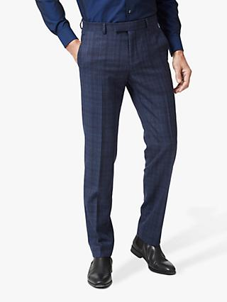 Richard James Mayfair Prince of Wales Check Tailored Suit Trousers, Navy