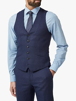 Richard James Mayfair Speckled Wool Tailored Waistcoat, Blue