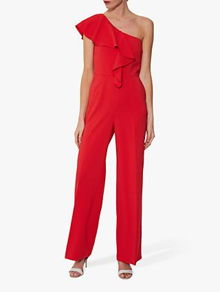 Gina Bacconi Ivana One Shoulder Crepe Jumpsuit