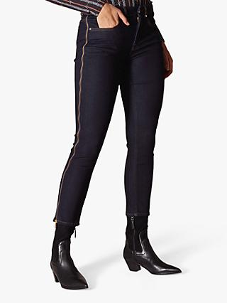 Karen Millen Side Zip Detail Skinny Jeans, Dark Denim