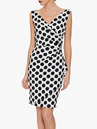 Gina Bacconi Isalia Spot Print Scuba Dress, Black/White