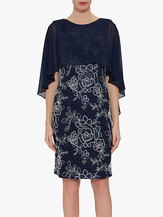 Gina Bacconi Effie Overcape Floral Dress, Spring Navy