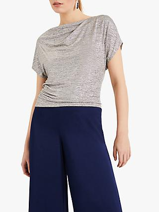 Phase Eight Frankie Metallic Foil Top, Grey/Gold