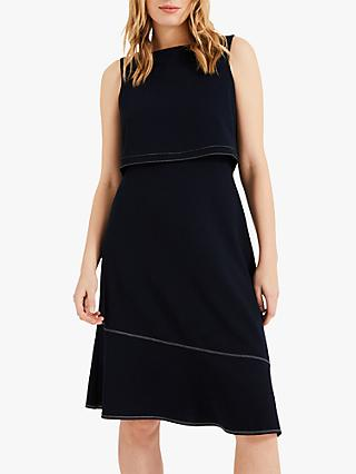 Phase Eight Torrie Top Stitch Dress, Navy