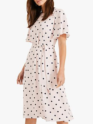 Phase Eight Adrienne Polka Dot Dress, Shell Pink/Navy
