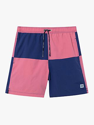 e421192cfd093 Hackett London Quad Volley Colour Block Swim Shorts, Pink/Navy