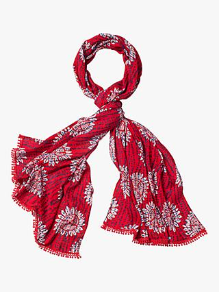 White Stuff Verty Print Scarf, Coral