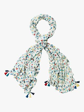 White Stuff Marble Hearts Scarf, Multi