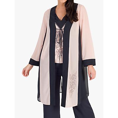 Chesca Contrast Trim Embroidered Chiffon Coat, Smoke/Shell