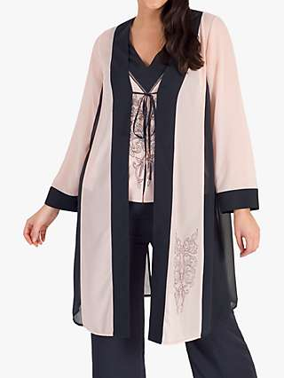 Chesca Contrast Trim Embroidered Chiffon Coat, Smoke/Shell
