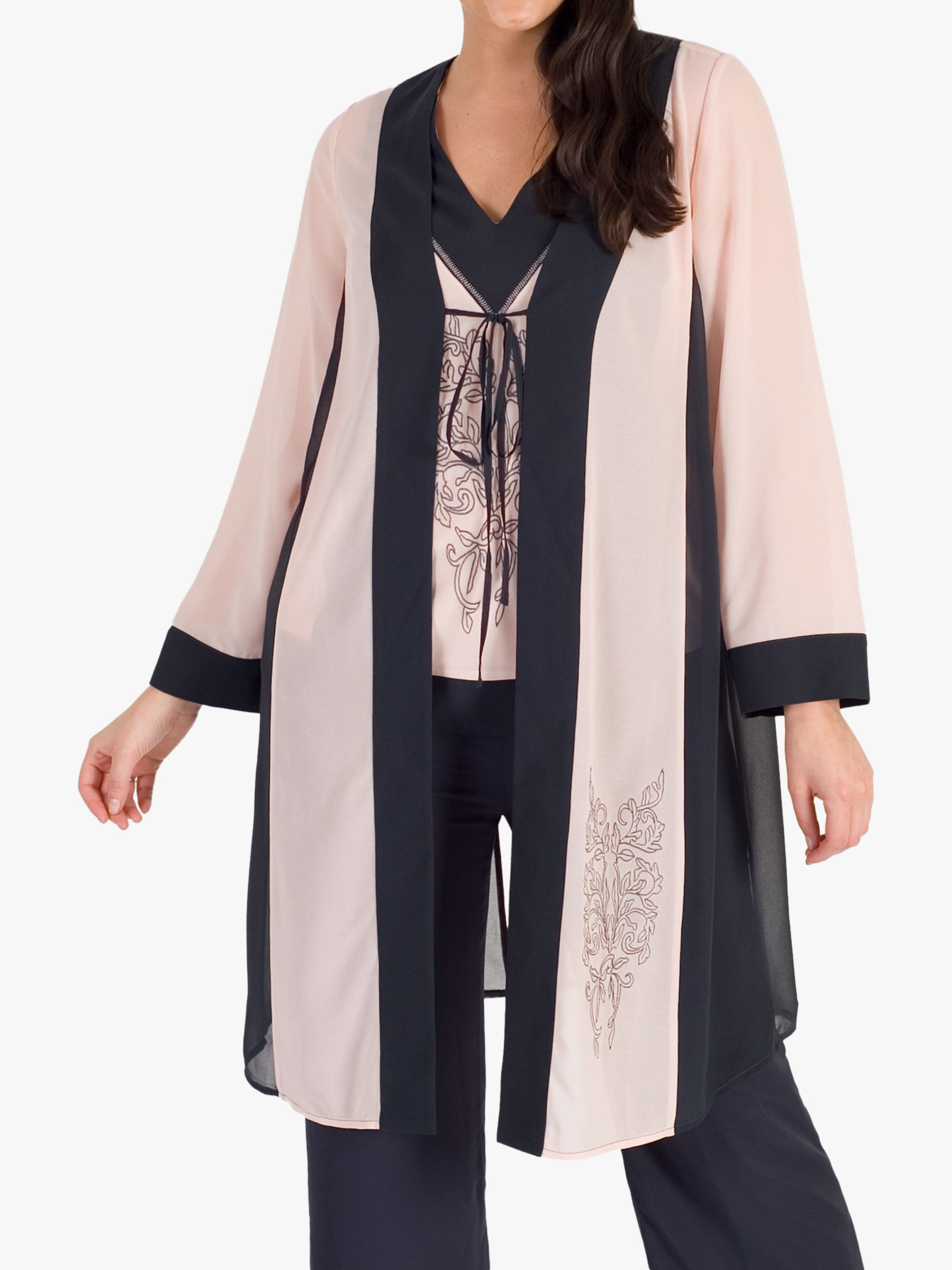 Chesca Chesca Contrast Trim Embroidered Chiffon Coat, Smoke/Shell