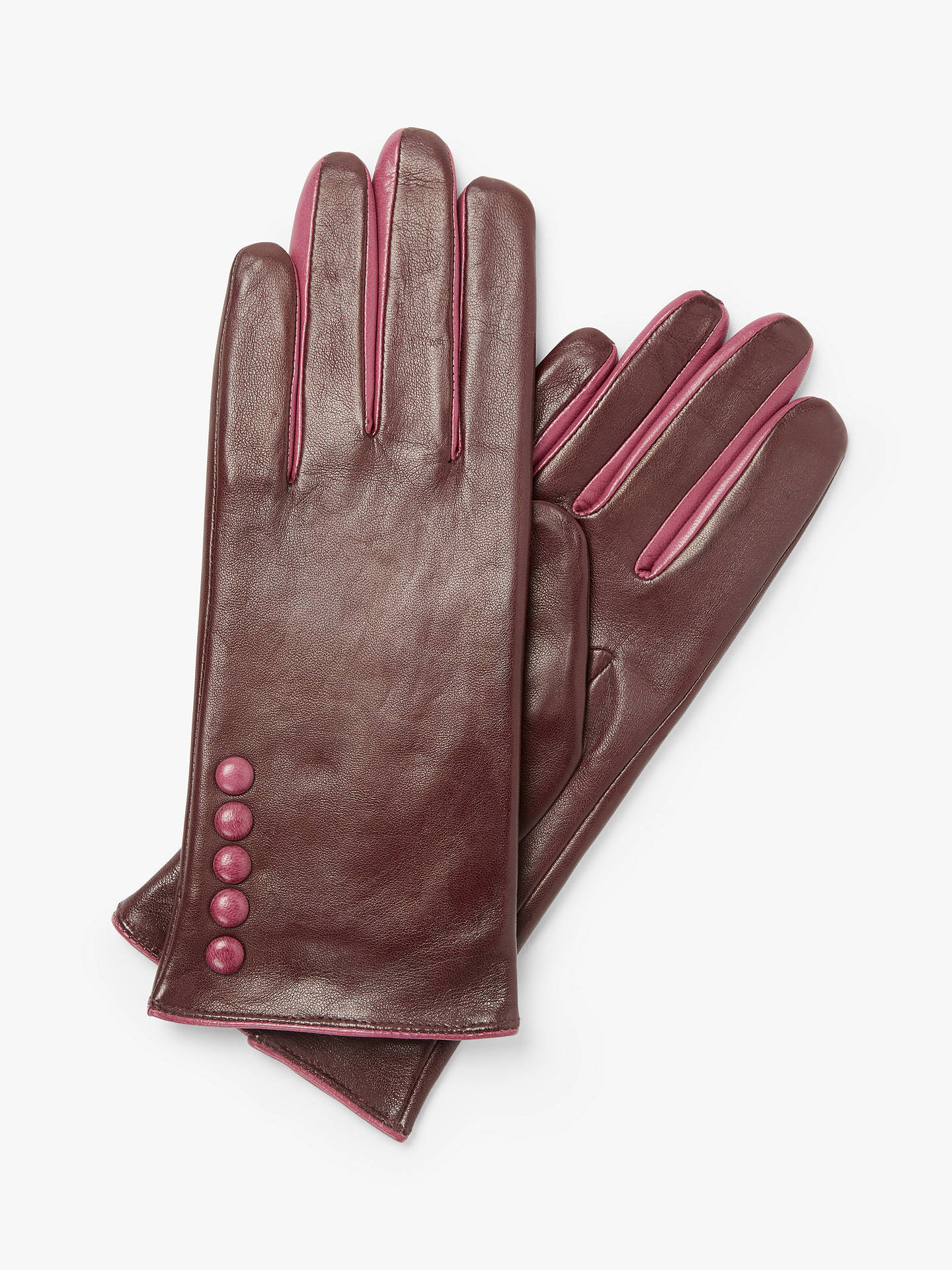 Buy John Lewis & Partners Leather Button Detail Gloves, Burgundy/Pink, S Online at johnlewis.com
