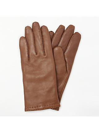 John Lewis & Partners Cashmere Lined Leather Double Stitch Row Gloves